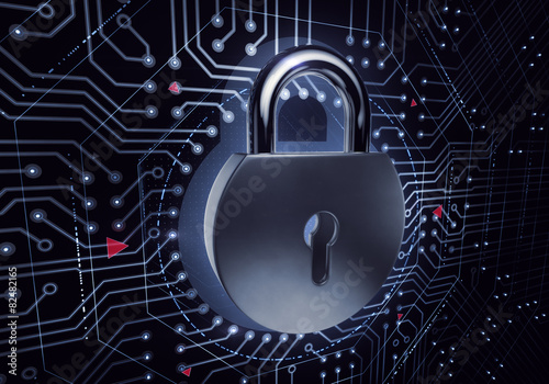Fototapeta Cyber Security. Symbolic padlock in electronic cyberspace.