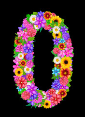 number 0 made from flowers