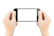 Leinwanddruck Bild - closeup hand hold smartphone show screen display isolated white