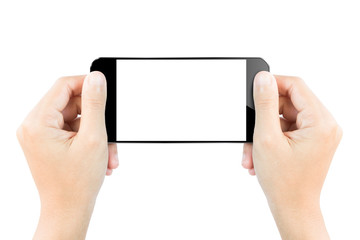 closeup hand hold smartphone show screen display isolated white