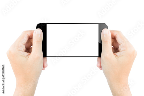 Leinwanddruck Bild closeup hand hold smartphone show screen display isolated white
