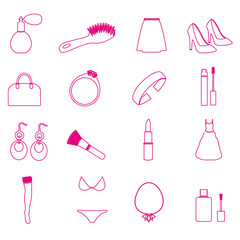 lady stuff needs simple outline icons set eps10