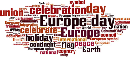Europe day word cloud concept. Vector illustration