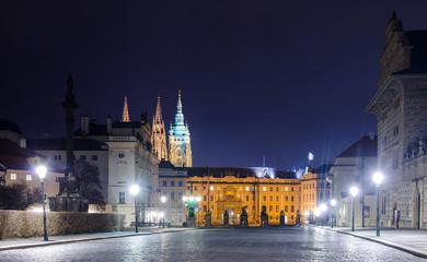 prague castle during night
