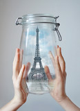 Paris in jar. Concept graphis - symbol of dreams. poster