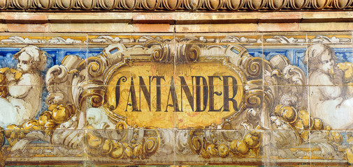 Rótulo de Santander, Plaza de España, Sevilla, España