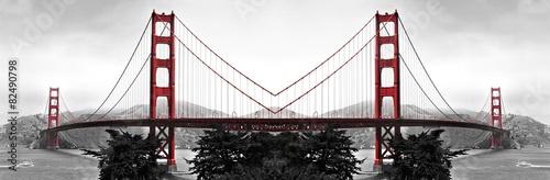 Golden Gate Bridge Red Pop on B&W - 82490798