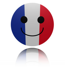 French flag happy icon with reflection illustration
