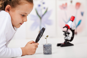 Young girl study a plant growing in plastic recipient