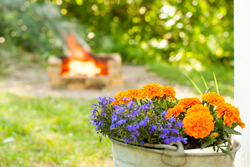 Flowers and Fireplace at Summer Sun
