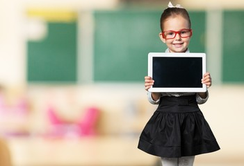 Kid. Picture of little girl with tablet pc and envelope icon