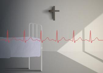 Cardiogram on old hospital ward