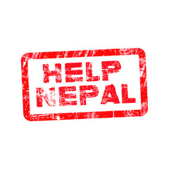 Grunge red rubber stamp with text Help Nepal, vector illustratio