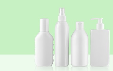 Product. Collection of  various beauty hygiene containers on