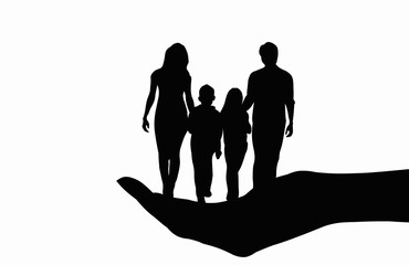 Family placed on hand black silhouette