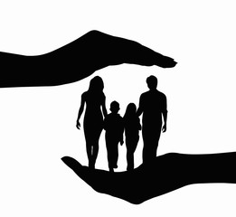 Family placed in hands black silhouette