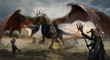 knights hunting black dragon on field - 82499546