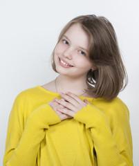 Portrait of a cute girl decade..