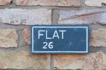 Flat Number 26 sign