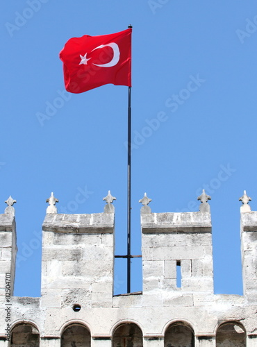 Waving Turkish flag on Topkapi Palace wall in istanbul Poster