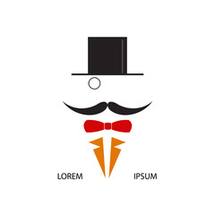 Gentleman with cylinder and a monocle. Vector illustration.