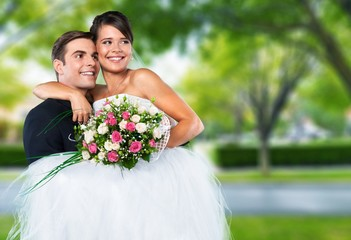 Wedding. Smiling wedding couple