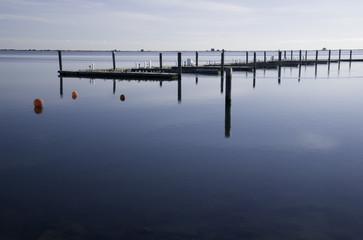 Empty dock in winter