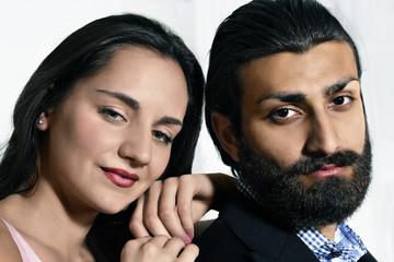 Contemplating couple, face portrait
