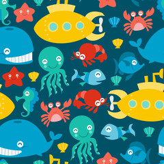 Submarine And Sea Creatures Seamless Pattern Background