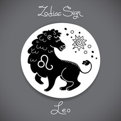Leo zodiac sign of horoscope circle emblem in cartoon style.