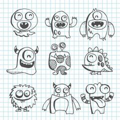 Monster Line Art Drawing