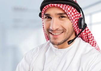 Arabian. Arabian business man having coffee in his office