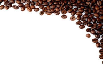 cofee beans in a corner on a white background