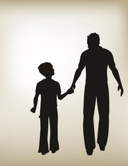 Father and Son with Vintage Shaded Background