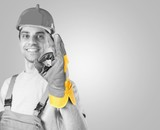 Repairman. Workman making a perfect gesture with his gloved hand