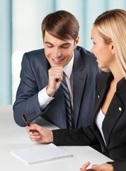 Asking. Businesswoman consulting a partner