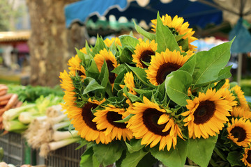 Farmers market with sunflowers
