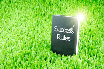 "Shining Black book on grass with "" Success Rules "" word, Busines"