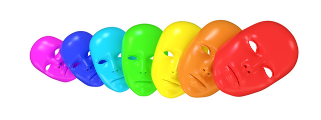3d facemasks in line of rainbow colors