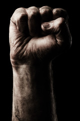 Male clenched fist. Aggression