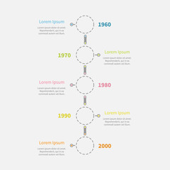 Dash line round icon Timeline vertical Infographic text. Flat