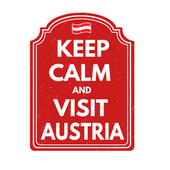 Keep calm and visit Austria stamp