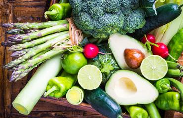 Mix vegetables on rustic background.Vegan food concept.