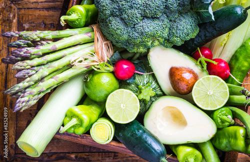 Fotobehang Groenten Mix vegetables on rustic background.Vegan food concept.