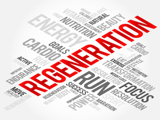 Regeneration word cloud, health cross concept