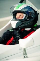 driver in race car