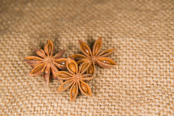 Star anise  on a very old cloth