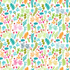 Vector seamless pattern with flowers, leaf, heart, and bicycle