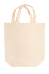 Fabric canvas bag isolated on white, clipping path