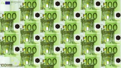 100-Euro-Scheine als Hintergrund, symmetrisch angeordnet